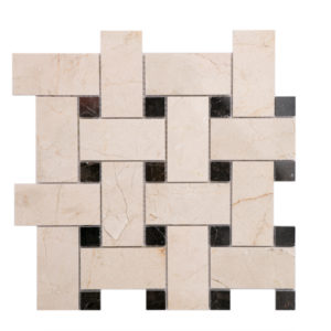 Mosaic Beige Marble 2x4 Basketweave Crema w/Brown Dot