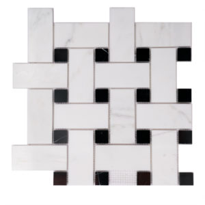 Mosaic White Marble 2x4 Basketweave O white w/ Black Dot