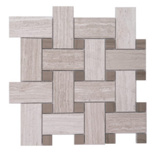 Mosaic Grey Marble 2x4 Basketweave Woodlight w/ Wood dark Dot