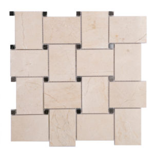 Mosaic Beige Marble Large Basketweave Crema w/ Brown Dot