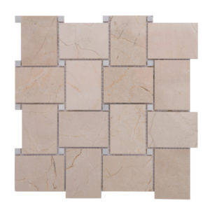 Mosaic Beige Marble Large Basketweave Crema w/ White Dot