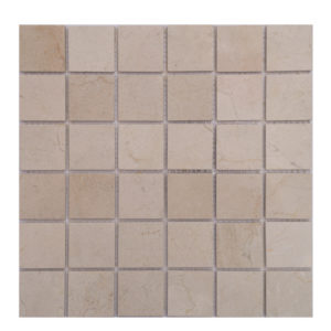 Mosaic Beige Marble 2x2 Stacked Crema Marfil