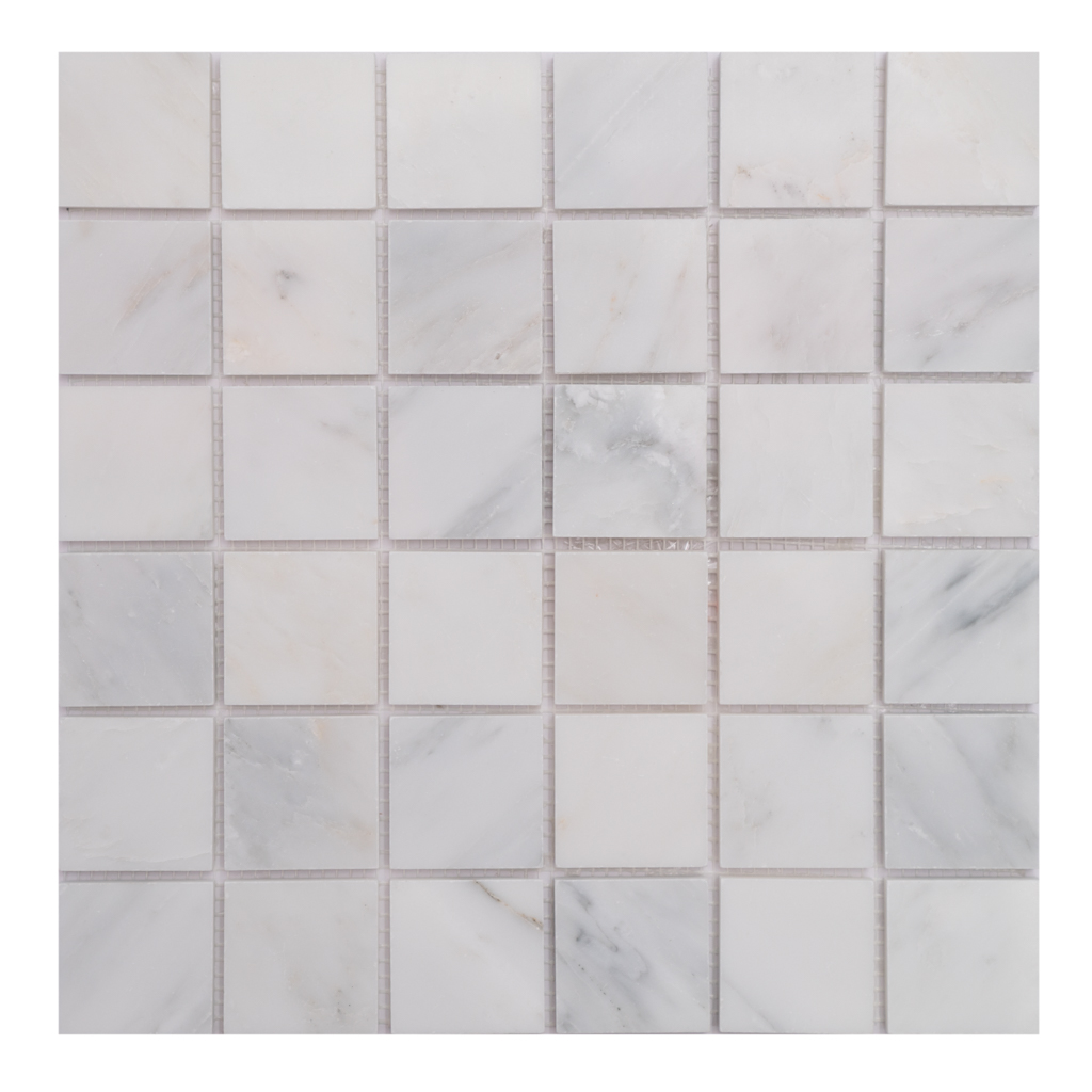 Mosaic White Marble 2x2 Stacked O white