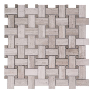 Mosaic Grey Marble 1x2 Basketweave Woodlight w/ Wood Dark Dot
