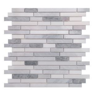 Mosaic White Marble 5/8 Random Strips O White with Grey