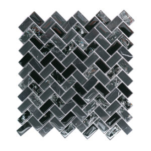 Mosaic Glass-Stone Mixed Large Herringbone Smokey Black