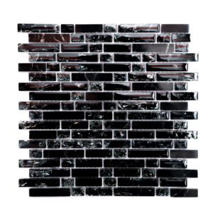 Mosaic Glass- Stone Mixed 5/8 Random Strips Smokey Black