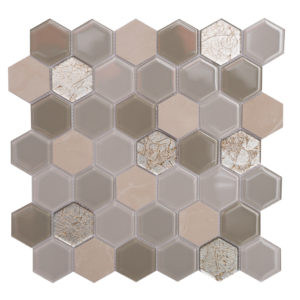 "Mosaic Glass-Stone Mixed 2"" Hexagon Crema Classic"