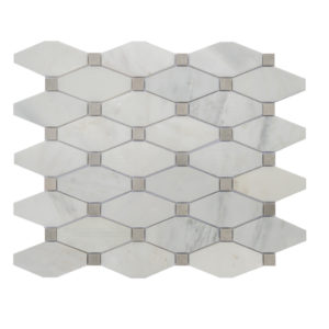 Mosaic White Marble Long Octagon O White w/ Grey Dot