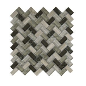 Mosaic Glass-Stone Mixed Large Herringbone Taupe