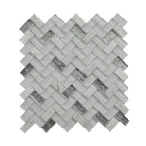 Mosaic Glass-Stone Mixed Large Herringbone Silver Lake