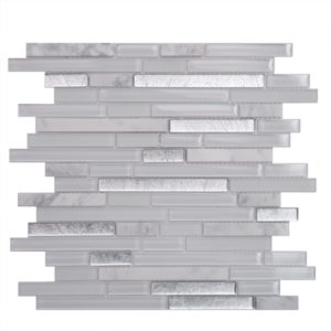 Mosaic Glass- Stone Mixed  5/8 Random Strips Silver Lake